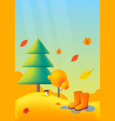 nature autumn landscape with yellow trees rubber vector image