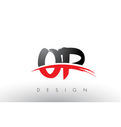 Op o p brush logo letters with red and black vector