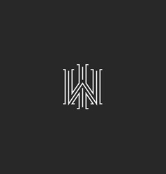 overlapping letters wi logo monogram linear vector image