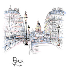 Paris in the winter morning france vector