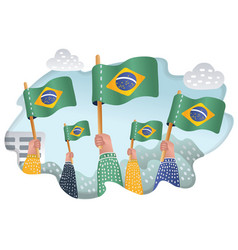 People rising up brazil national flags vector