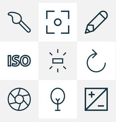 picture icons line style set with reload vector image
