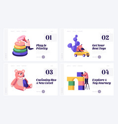 playthings for children website landing page set vector image