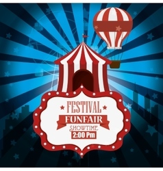 Poster festival funfair tent airballoon light vector