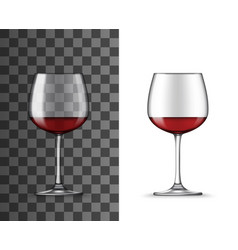 Realistic 3d red wine in glass cup mockup vector
