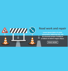 road work and repair banner horizontal concept vector image