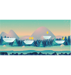 Seamless cartoon nature winter landscape with vector