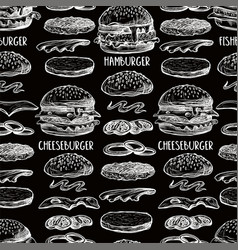 seamless pattern with burgers in graphic style vector image