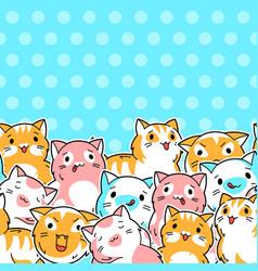 seamless pattern with cute kawaii cats fun animal vector image