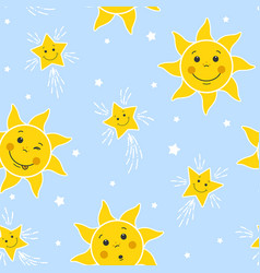 Seamless pattern with funny suns and stars vector