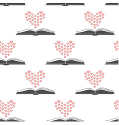 Seamless pattern with open romance genre book and vector