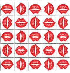 seamless pattern with red lips vector image