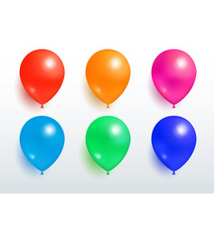 set flying balloons red orange pink blue green vector image