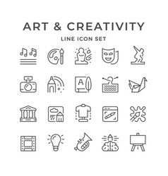 Set line icons art and creativity vector