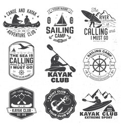 set sailing camp canoe and kayak club badges vector image