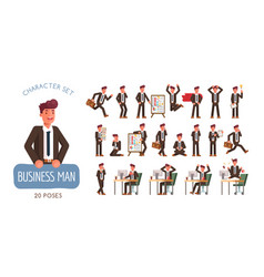 set successful businessman character poses and vector image