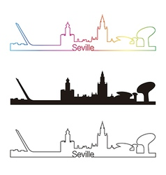 Seville skyline linear style with rainbow vector