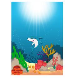 Shark in beautiful underwater world cartoon vector