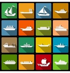 Ship and boats icons set flat vector image