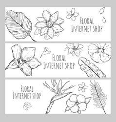 Sketch floral internet shop horizontal banners vector