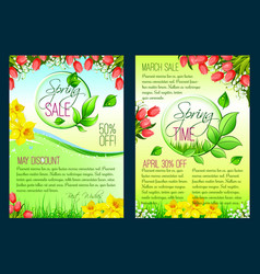 Spring sale floral poster discount flyer template vector