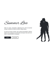 Summer love template poster with couple silhouette vector