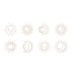 sun and moon line art logo boho ray sun mystic vector image