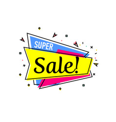 Super sale proposition sticker in linear style vector