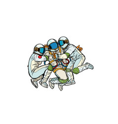 Three astronauts hugging vector