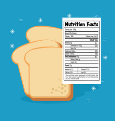 Toast bread slice with nutrition facts vector