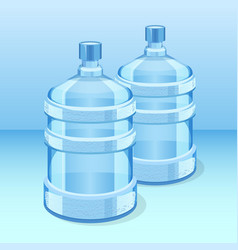 two realistic plastic bottles for office water vector image