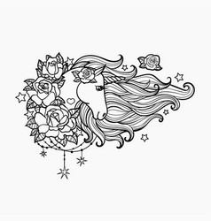 unicorn with a long mane and roses hand drawn vector image