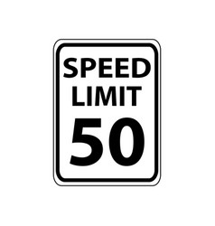 Usa traffic road signs maximam legal speed is 50 vector