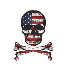 Vintage hand drawn skull in grunge style with usa vector