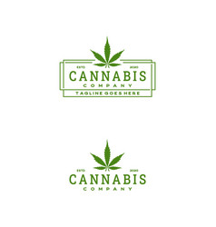 vintage retro cannabis stamp badge rectangle logo vector image