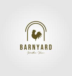 Vintage rooster in barn symbol design vector