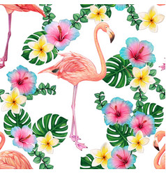 watercolor bright flamingo pattern and tropical vector image
