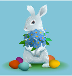 White easter bunny holding bouquet flowers of vector