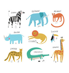 Wild animals collection set and their names vector