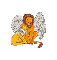 winged lion with cub under its wing drawing vector image