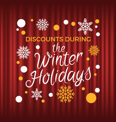 winter holidays discounts and sales offers vector image