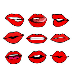 woman lips set pop art retro style mouth with a vector image