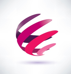 Abstract red globe icon energy concept vector