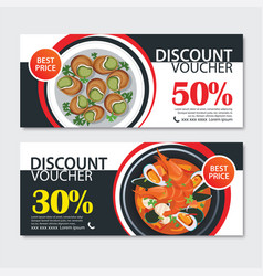 discount voucher french food template design set vector image vector image