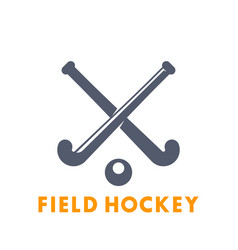 field hockey icon logo elements over white vector image vector image