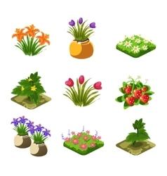 Flash game gardening elements set vector