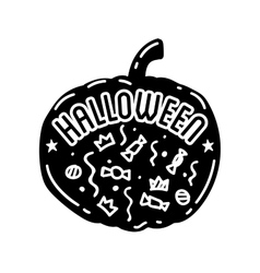 Happy Halloween design Black badge and label vector image vector image