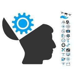 Open Head Gear Icon With Air Drone Tools Bonus vector image vector image