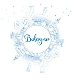 Outline Bologna Skyline with Blue Landmarks vector image vector image