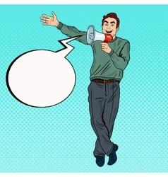 Pop art man with megaphone promoting vector